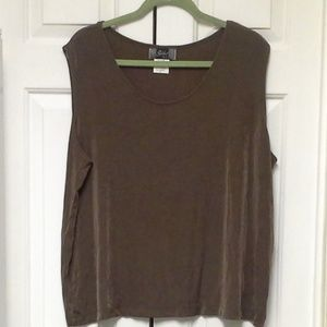 Slinky Brand Brown Tank Top 2X Scoop Neck
